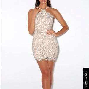BEIGE AND IVORY LACE BODYCON DRESS